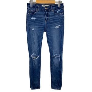 Garage The High Rise Skinny Blue Distressed Jeans